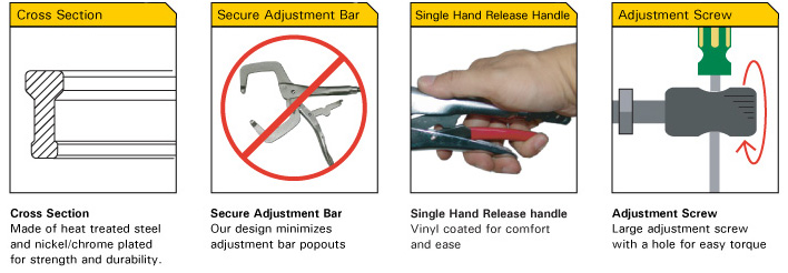 Strong hand Tools PR6S Locking C-Clamps with Swivel Tip 6.5-Inch
